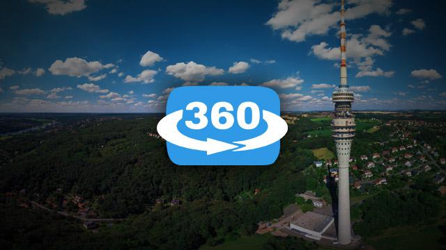 Der Fernsehturm Dresden 360° Panorama im Juli 2016