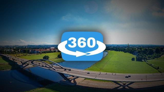 Waldschlösschenbrücke 360° Panorama im Juli 2016